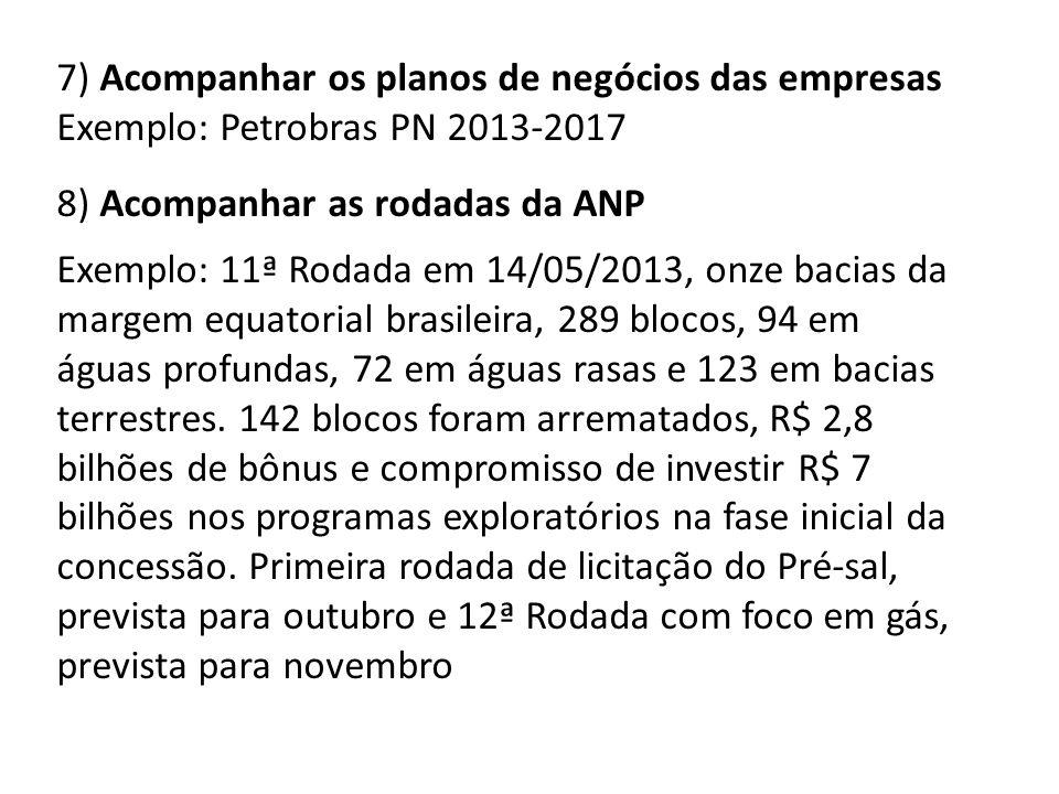 7) Acompanhar os planos de negócios das empresas Exemplo: Petrobras PN 2013-2017