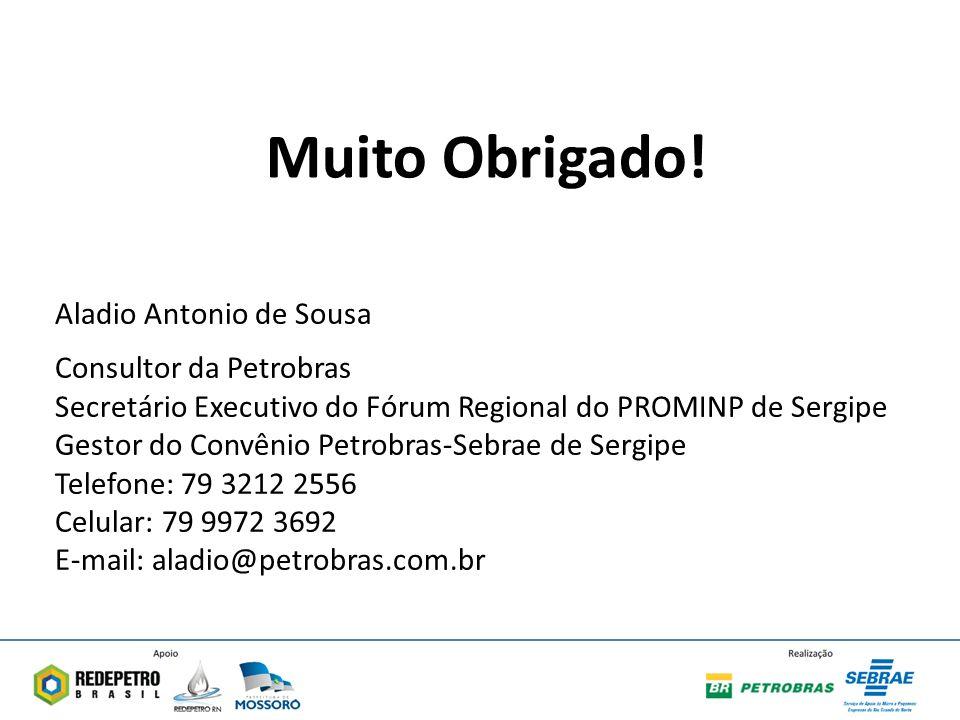 Muito Obrigado! Aladio Antonio de Sousa Consultor da Petrobras
