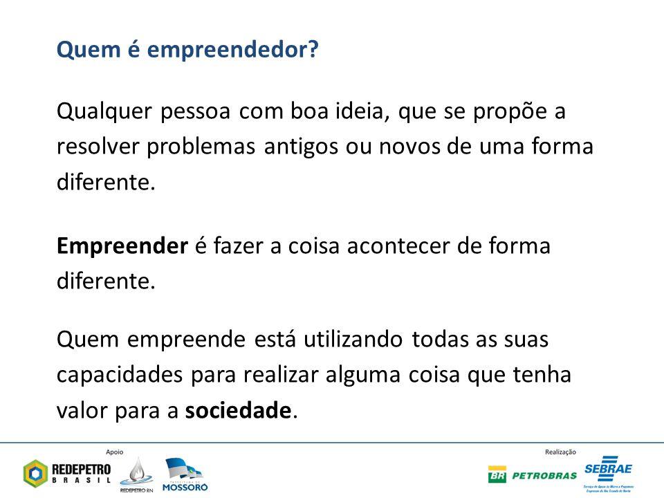 Quem é empreendedor Qualquer pessoa com boa ideia, que se propõe a resolver problemas antigos ou novos de uma forma diferente.