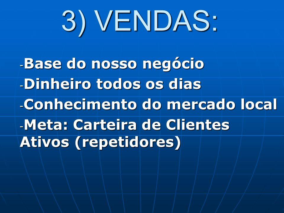 3) VENDAS: Base do nosso negócio Dinheiro todos os dias