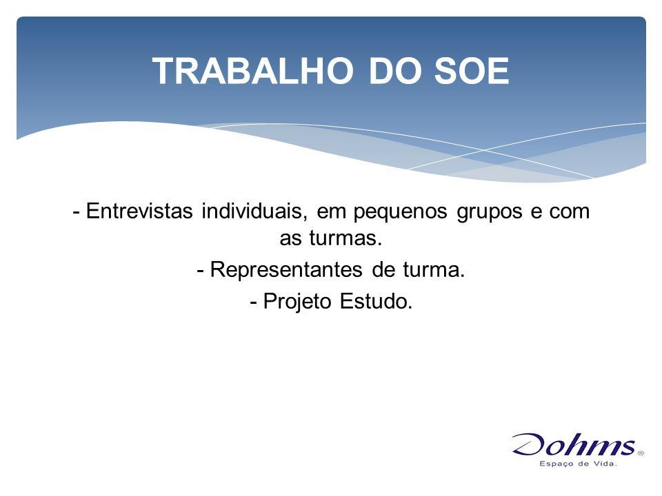 TRABALHO DO SOE - Entrevistas individuais, em pequenos grupos e com as turmas.