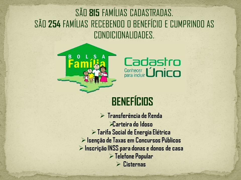 BENEFÍCIOS SÃO 815 FAMÍLIAS CADASTRADAS.