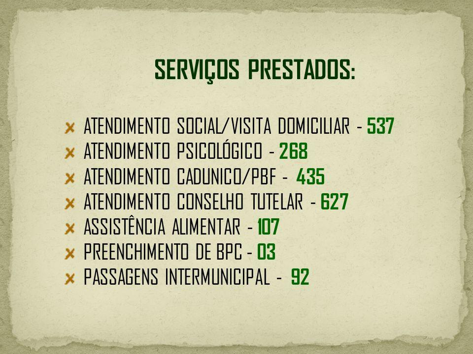 SERVIÇOS PRESTADOS: ATENDIMENTO SOCIAL/VISITA DOMICILIAR - 537