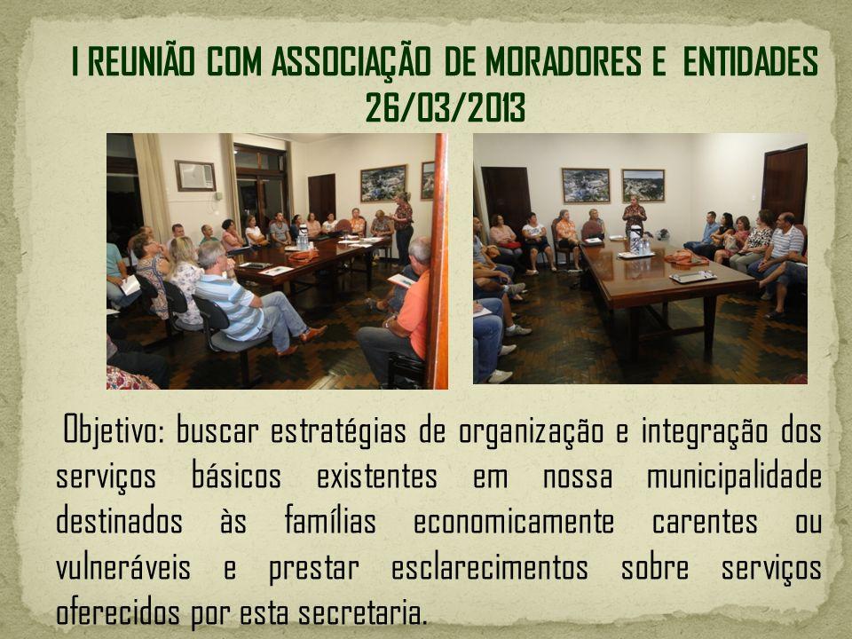 I REUNIÃO COM ASSOCIAÇÃO DE MORADORES E ENTIDADES