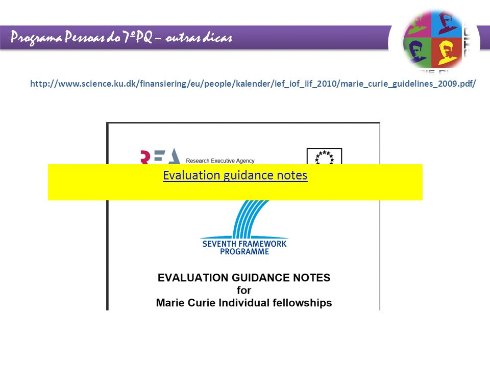 Evaluation guidance notes