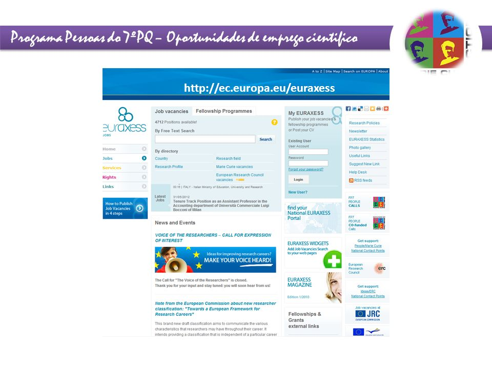 Programa Pessoas do 7ºPQ – Oportunidades de emprego cientifico