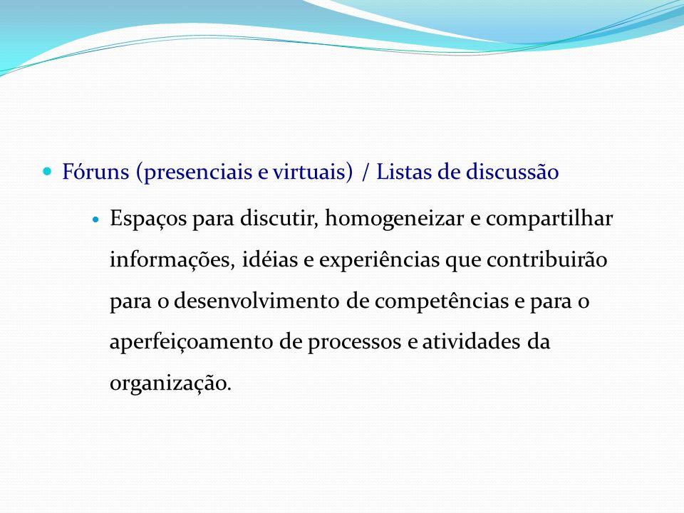 Fóruns (presenciais e virtuais) / Listas de discussão