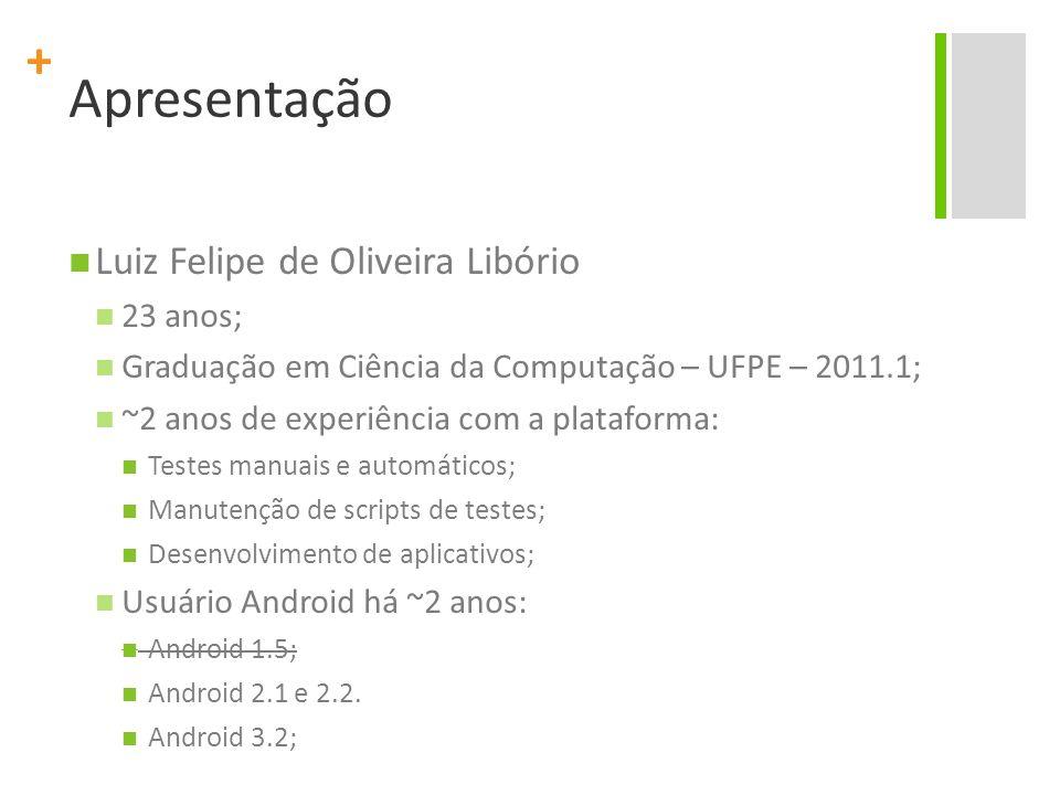 Apresentação Luiz Felipe de Oliveira Libório 23 anos;