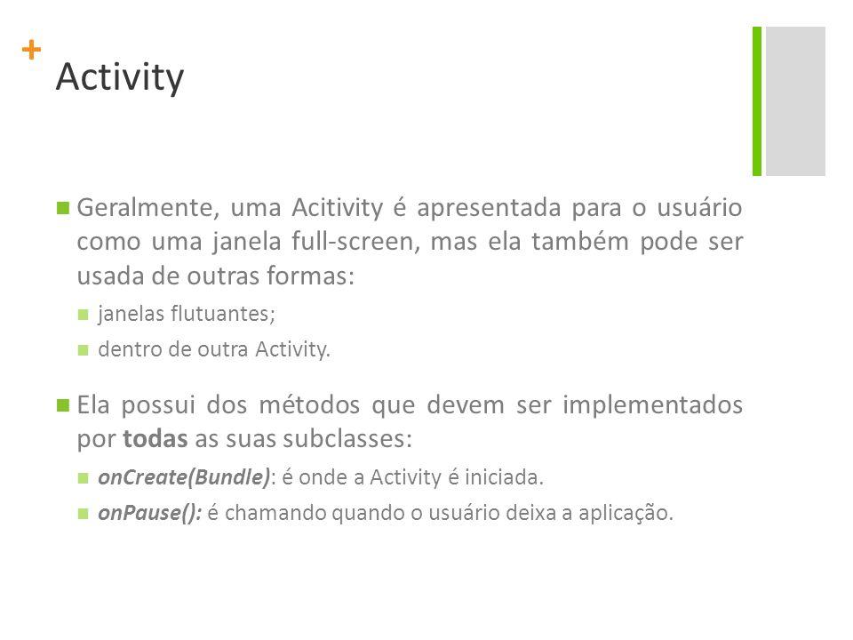 Activity Geralmente, uma Acitivity é apresentada para o usuário como uma janela full-screen, mas ela também pode ser usada de outras formas: