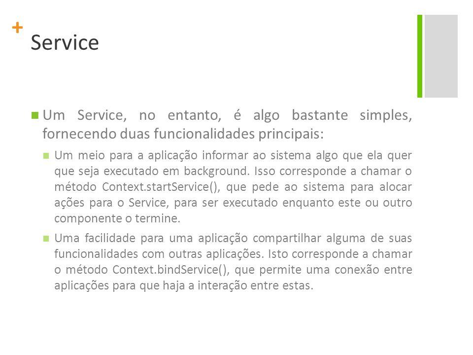 Service Um Service, no entanto, é algo bastante simples, fornecendo duas funcionalidades principais: