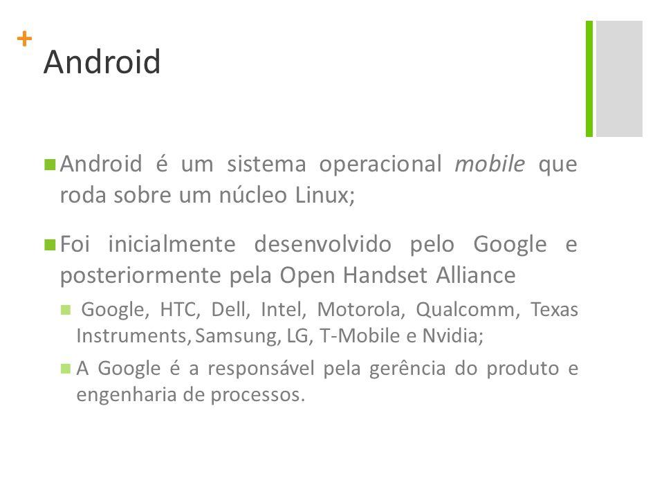 Android Android é um sistema operacional mobile que roda sobre um núcleo Linux;