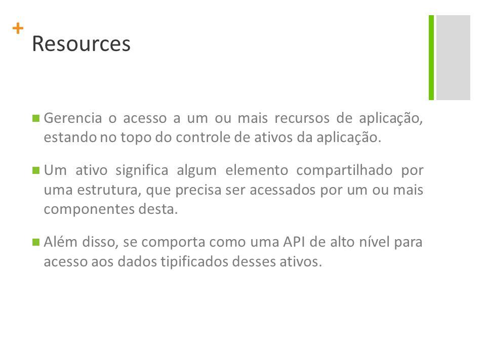 Resources Gerencia o acesso a um ou mais recursos de aplicação, estando no topo do controle de ativos da aplicação.