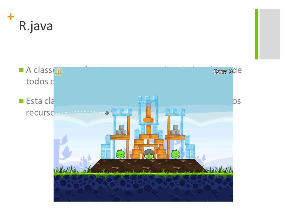 R.java A classe R.java funciona como uma lista indexada, onde todos os recursos do projeto estão definidos.