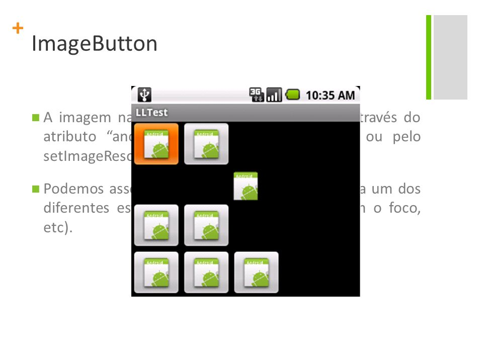 ImageButton A imagem na superfície do botão é definida através do atributo android:src no XML do elemento ou pelo setImageResource(int) method.