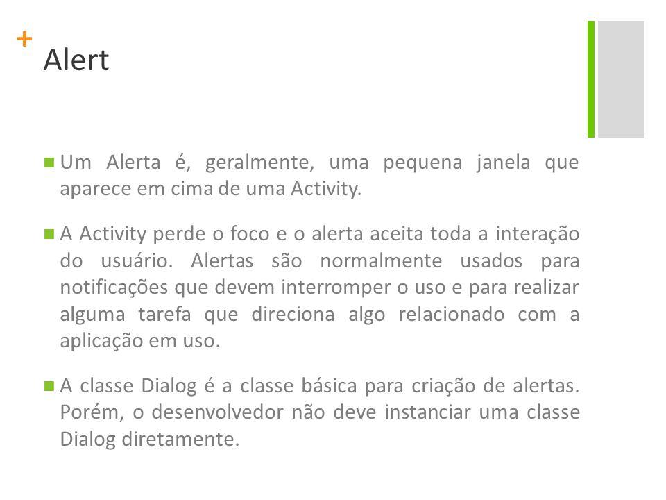 Alert Um Alerta é, geralmente, uma pequena janela que aparece em cima de uma Activity.