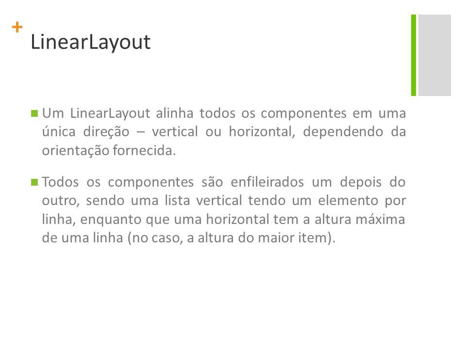LinearLayout Um LinearLayout alinha todos os componentes em uma única direção – vertical ou horizontal, dependendo da orientação fornecida.