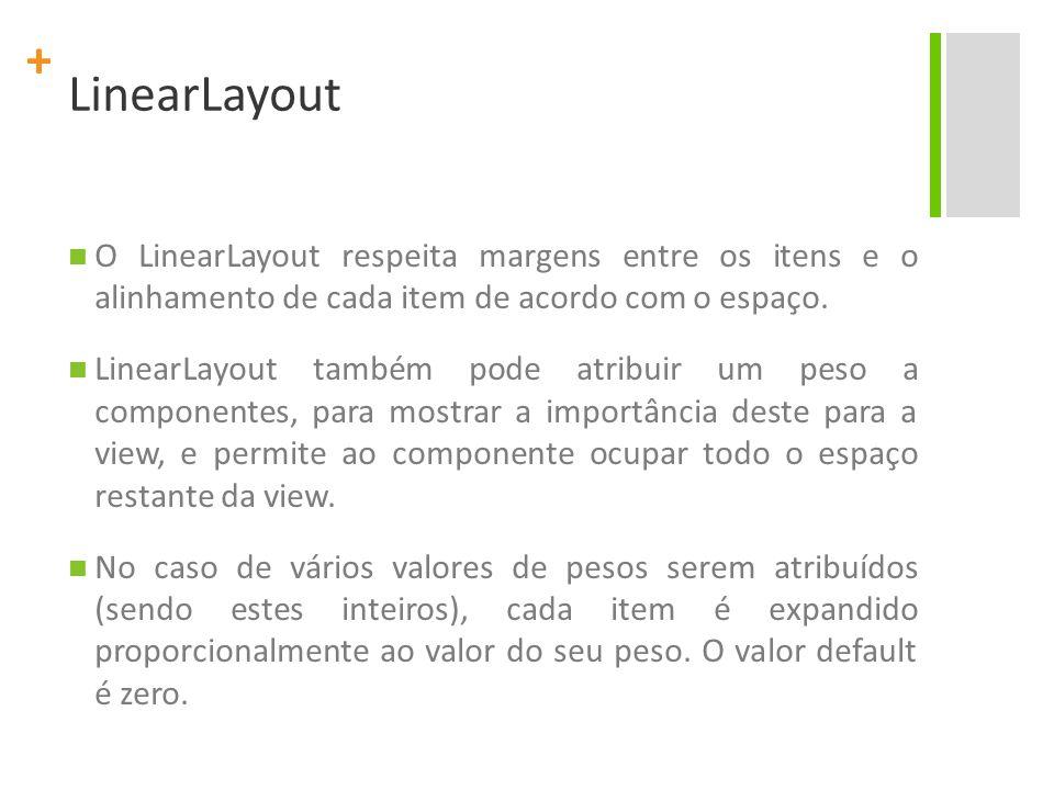 LinearLayout O LinearLayout respeita margens entre os itens e o alinhamento de cada item de acordo com o espaço.