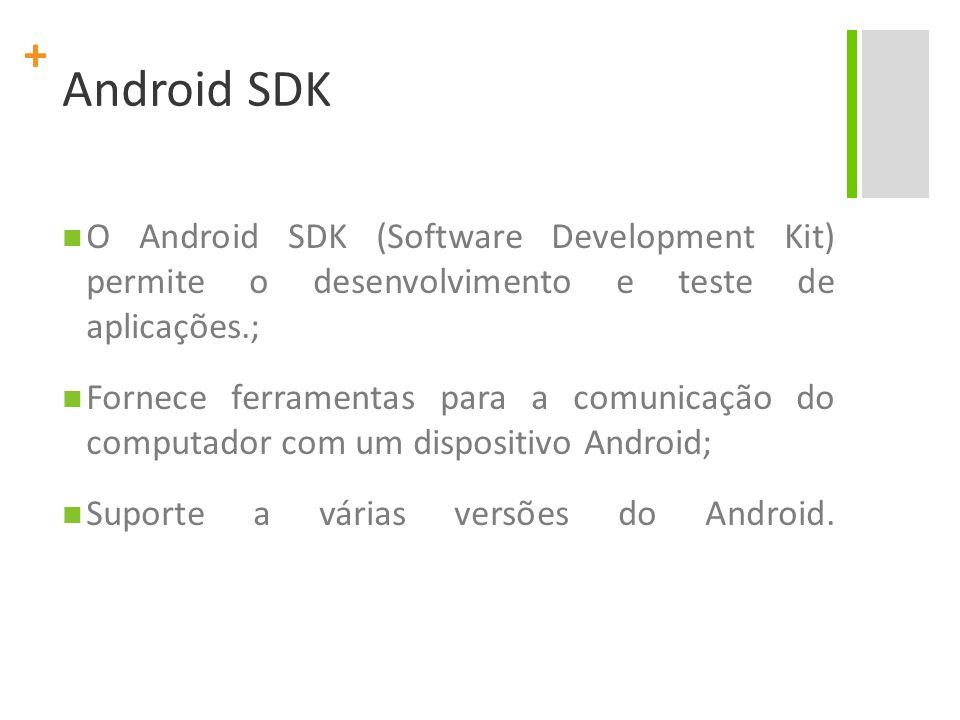 Android SDK O Android SDK (Software Development Kit) permite o desenvolvimento e teste de aplicações.;