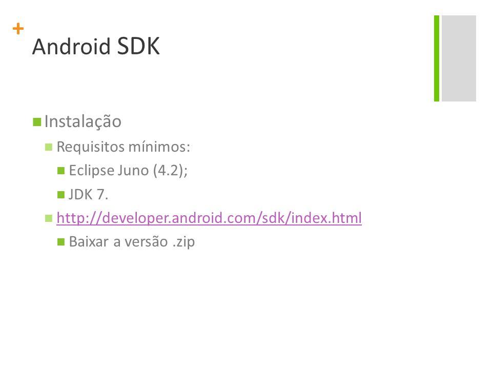Android SDK Instalação Requisitos mínimos: Eclipse Juno (4.2); JDK 7.