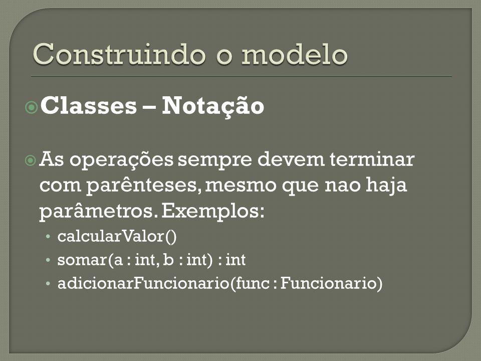 Construindo o modelo Classes – Notação