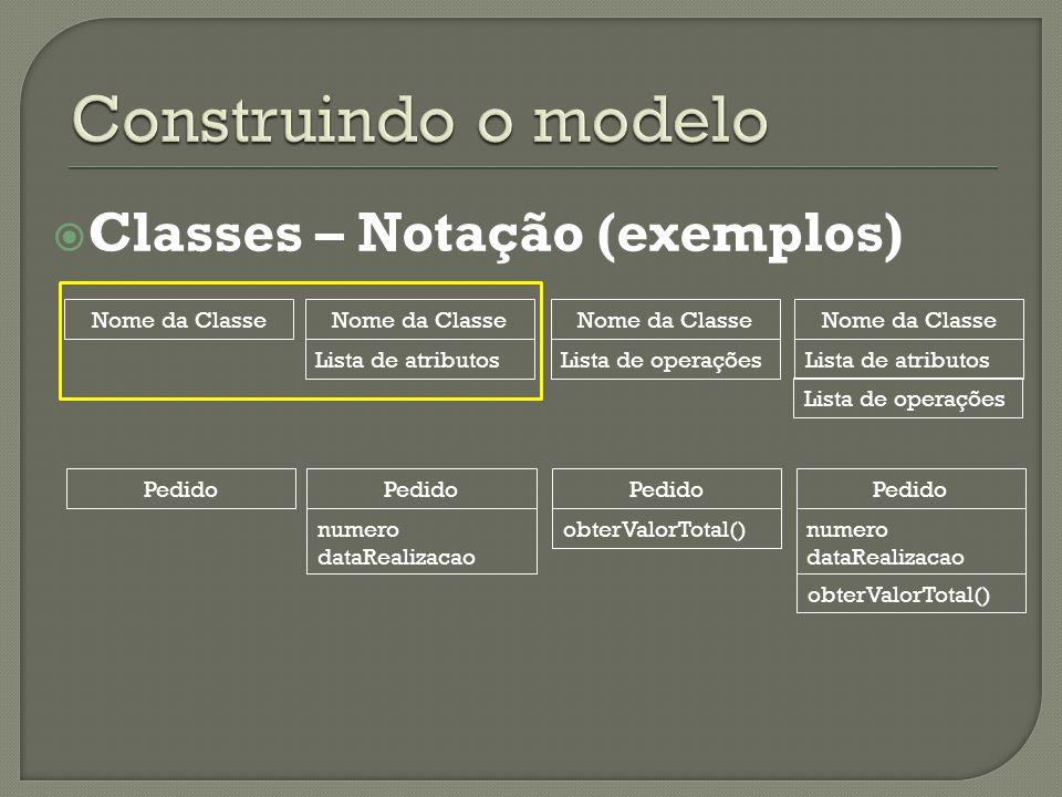 Construindo o modelo Classes – Notação (exemplos) Nome da Classe