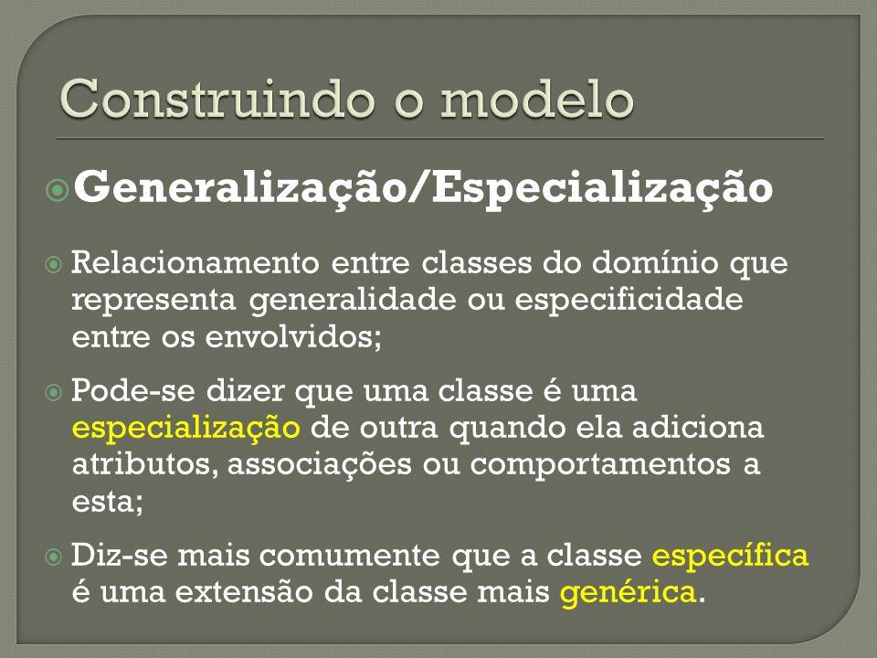 Construindo o modelo Generalização/Especialização