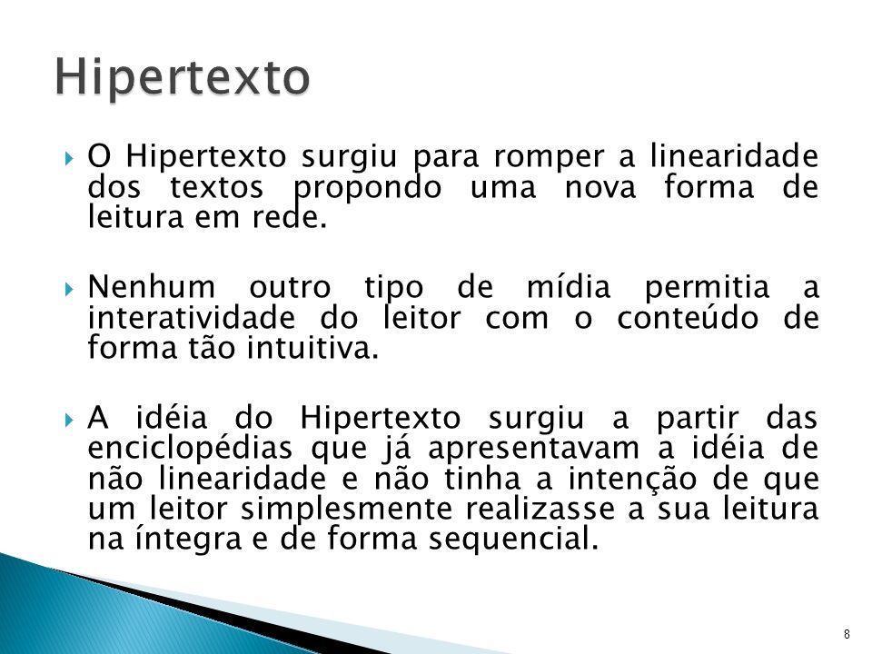 Hipertexto O Hipertexto surgiu para romper a linearidade dos textos propondo uma nova forma de leitura em rede.