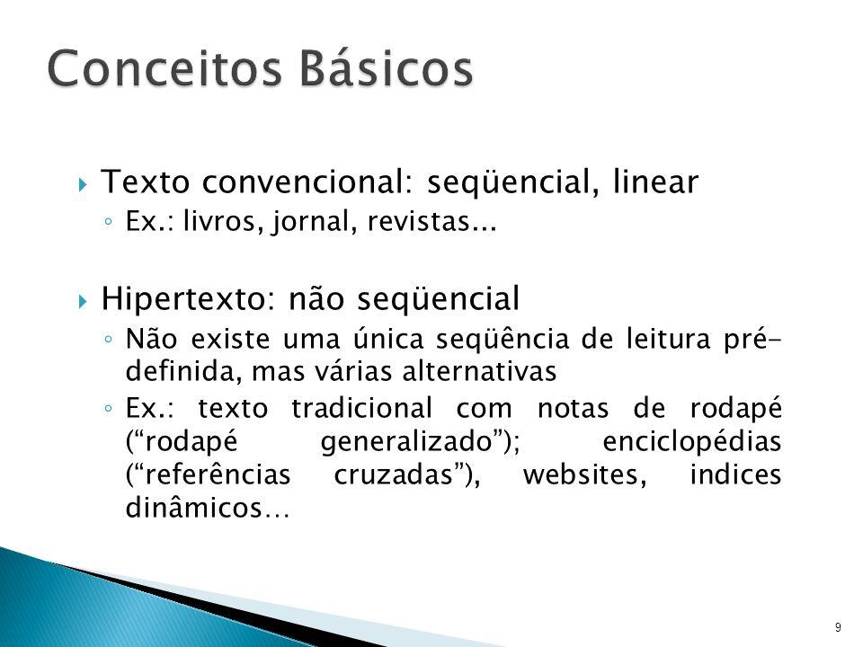 Conceitos Básicos Texto convencional: seqüencial, linear