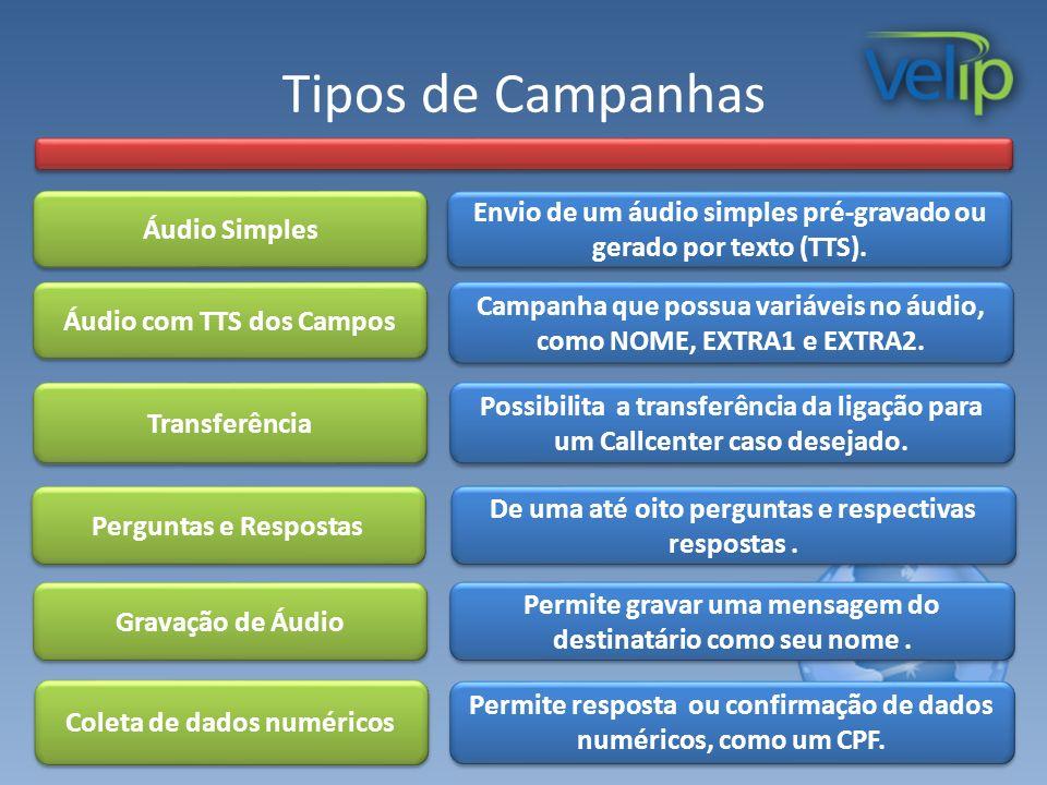 Tipos de Campanhas Áudio Simples. Transferência. Campanha que possua variáveis no áudio, como NOME, EXTRA1 e EXTRA2.