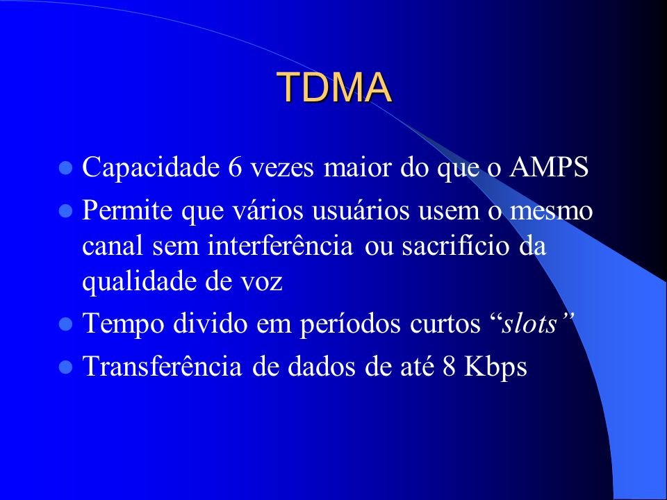 TDMA Capacidade 6 vezes maior do que o AMPS