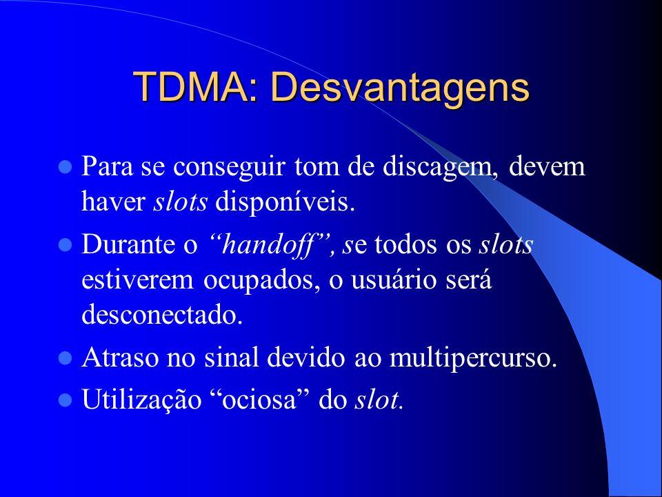 TDMA: Desvantagens Para se conseguir tom de discagem, devem haver slots disponíveis.
