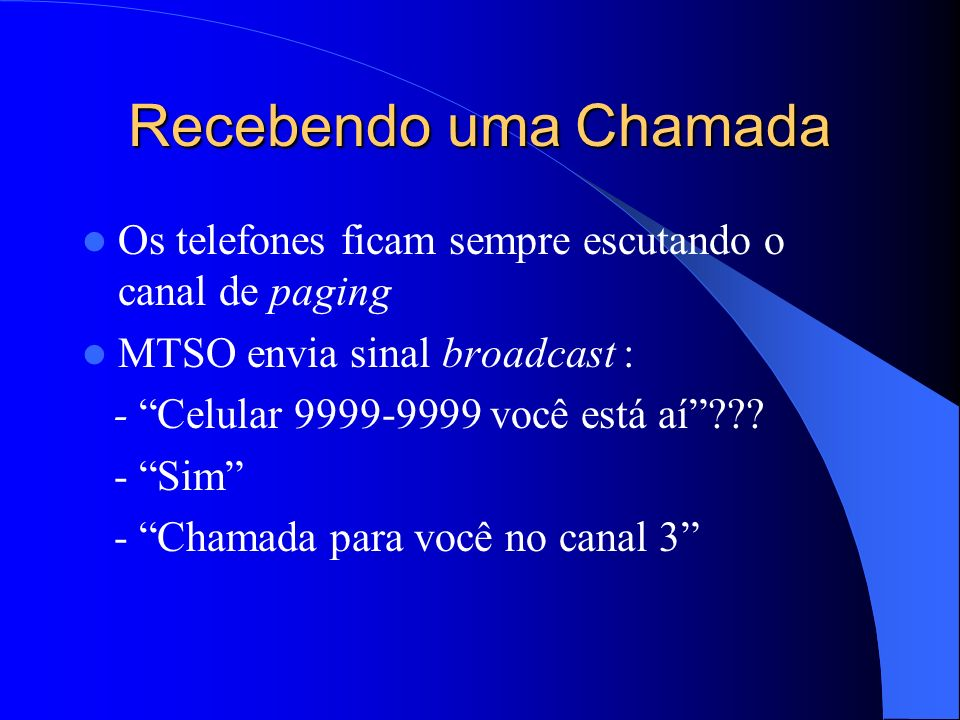Recebendo uma Chamada Os telefones ficam sempre escutando o canal de paging. MTSO envia sinal broadcast :