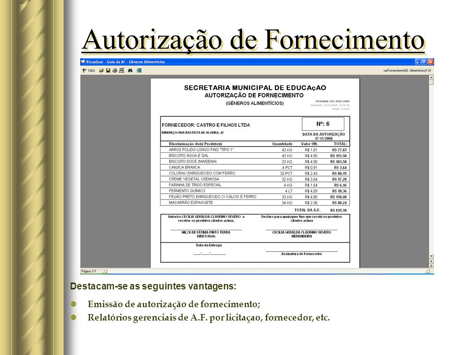 Autorização de Fornecimento