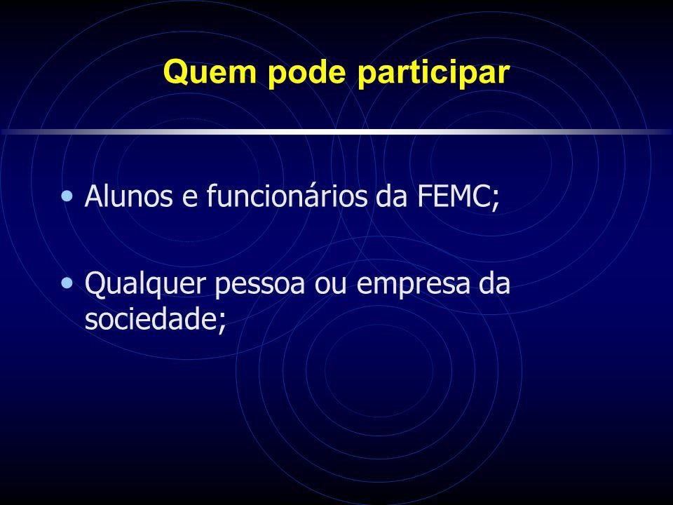 Quem pode participar Alunos e funcionários da FEMC;