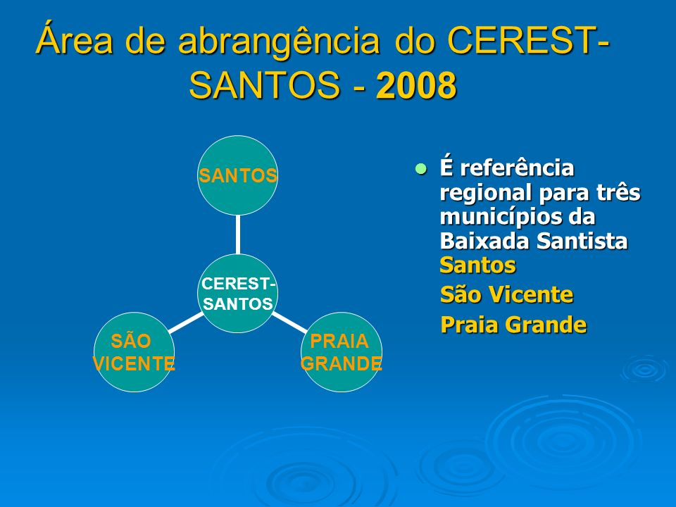 Área de abrangência do CEREST-SANTOS - 2008