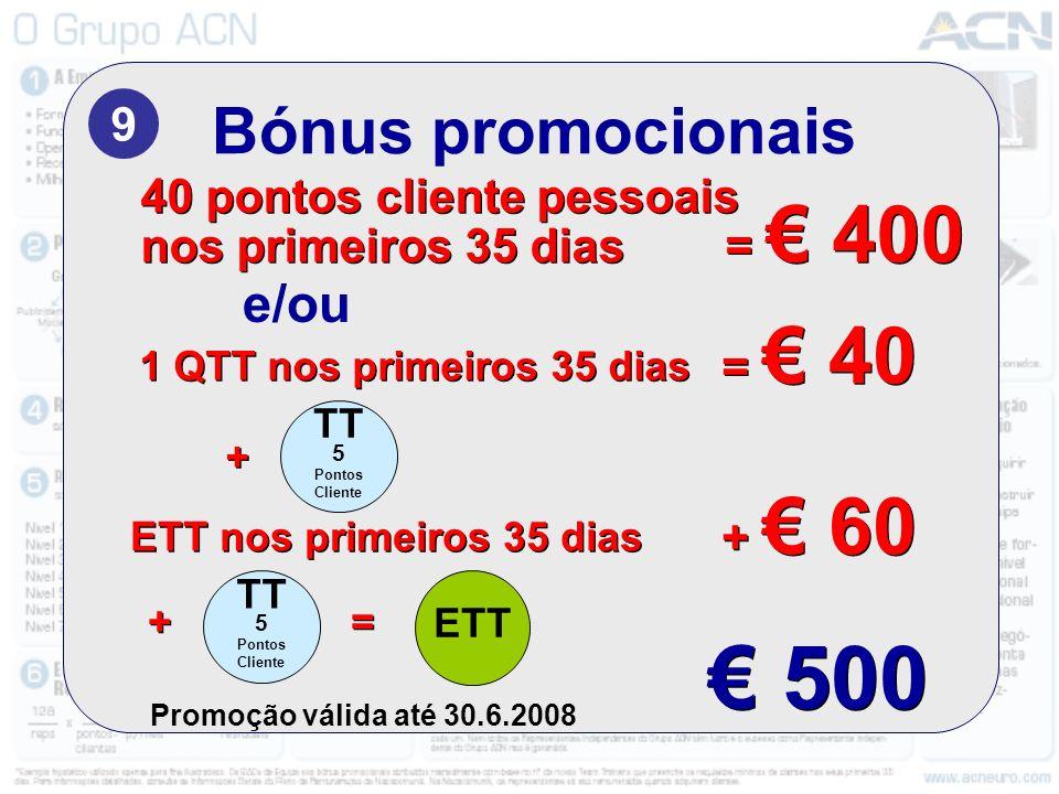 € 500 Bónus promocionais e/ou 9 40 pontos cliente pessoais