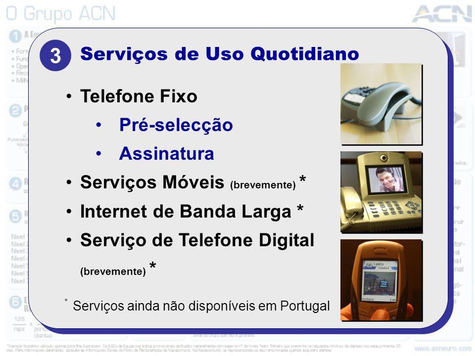 3 Serviços de Uso Quotidiano Telefone Fixo Pré-selecção Assinatura