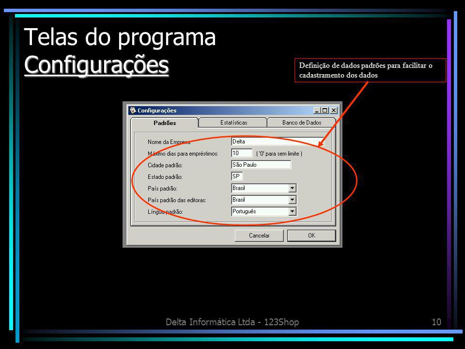 Telas do programa Configurações