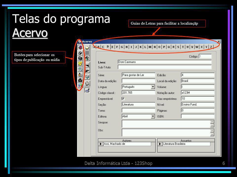 Telas do programa Acervo