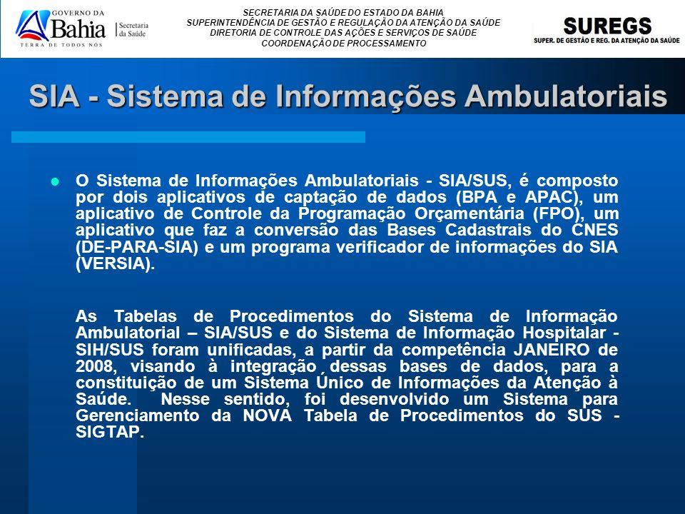 SIA - Sistema de Informações Ambulatoriais