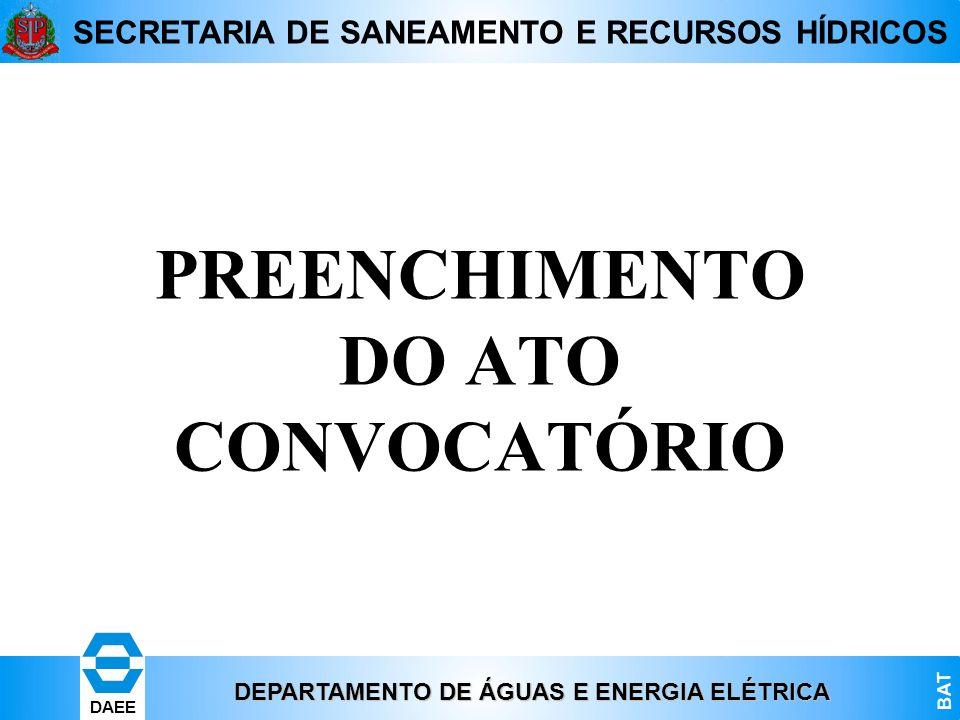 PREENCHIMENTO DO ATO CONVOCATÓRIO