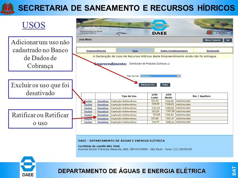 USOS Adicionar um uso não cadastrado no Banco de Dados de Cobrança