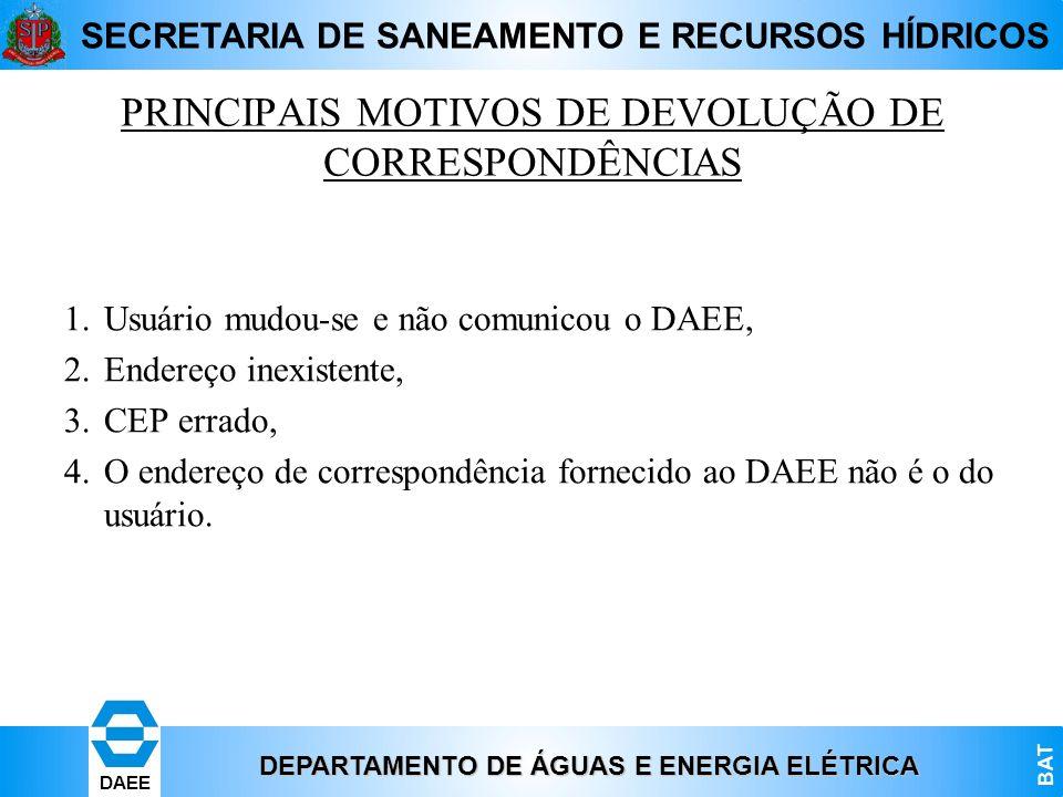 PRINCIPAIS MOTIVOS DE DEVOLUÇÃO DE CORRESPONDÊNCIAS