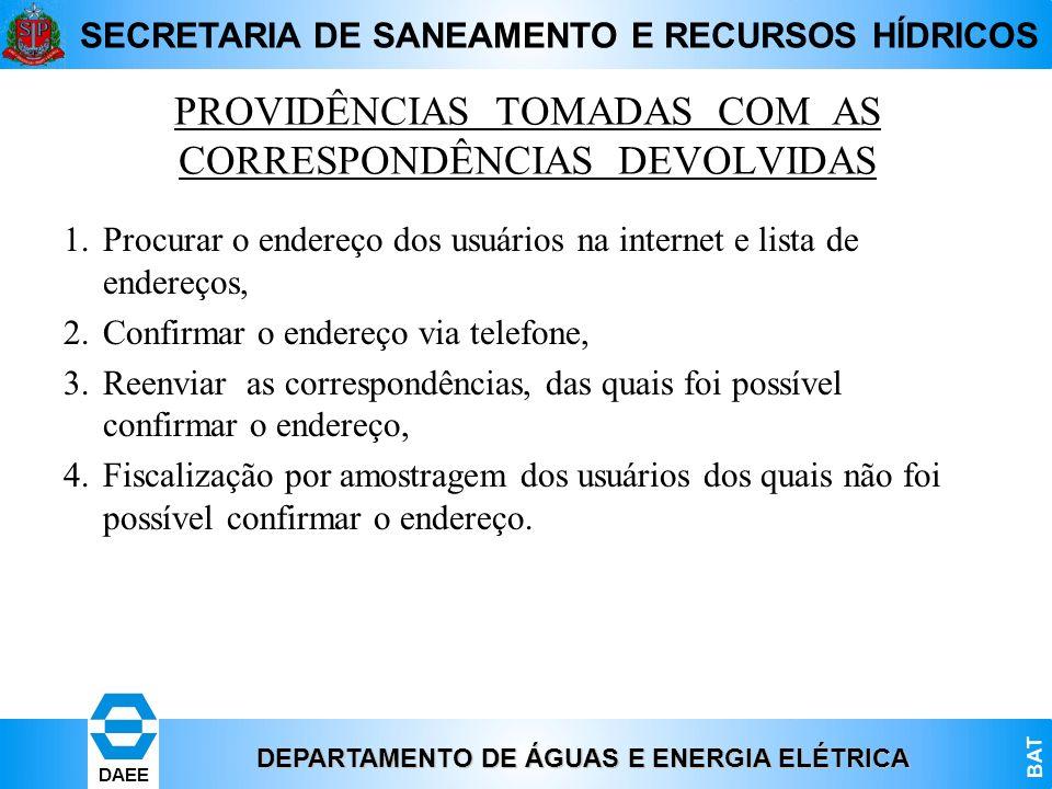 PROVIDÊNCIAS TOMADAS COM AS CORRESPONDÊNCIAS DEVOLVIDAS