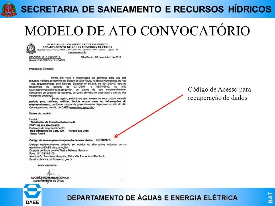 MODELO DE ATO CONVOCATÓRIO