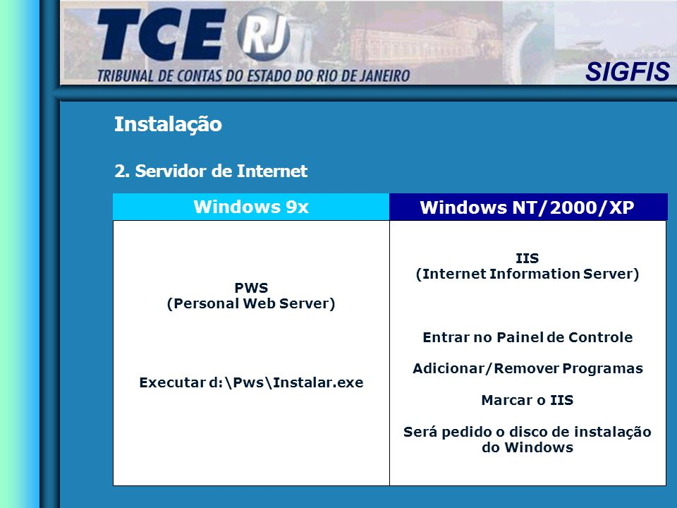 Instalação 2. Servidor de Internet Windows 9x Windows NT/2000/XP IIS