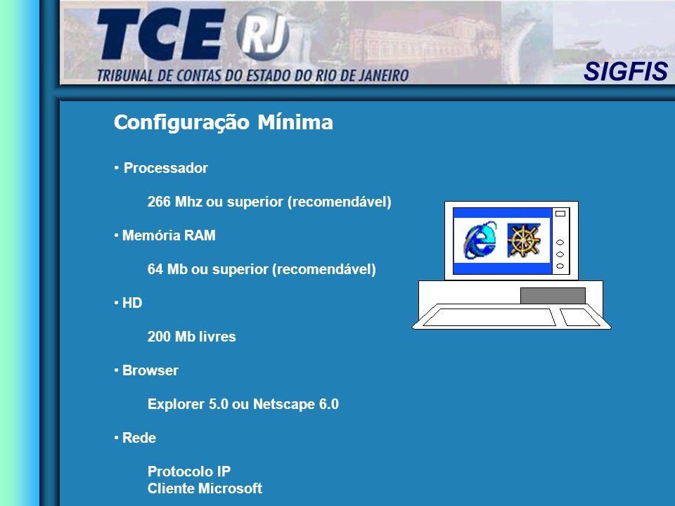 Configuração Mínima Processador 266 Mhz ou superior (recomendável)
