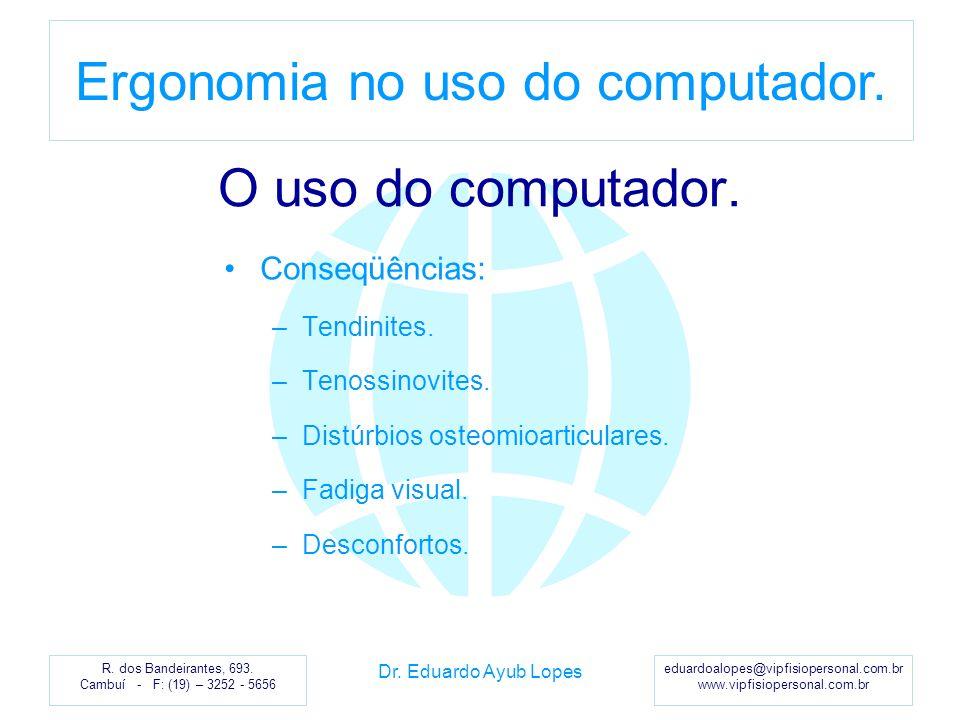 O uso do computador. Conseqüências: Tendinites. Tenossinovites.