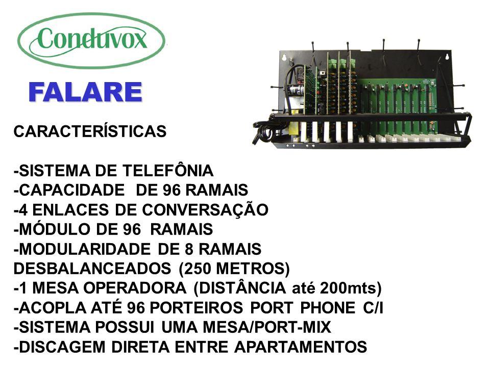 FALARE CARACTERÍSTICAS -SISTEMA DE TELEFÔNIA -CAPACIDADE DE 96 RAMAIS