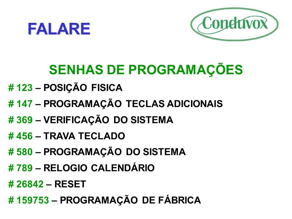 SENHAS DE PROGRAMAÇÕES